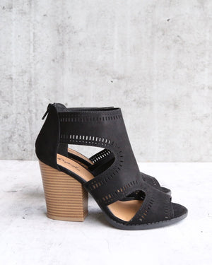 Talk Around Town Perforated Booties in Black