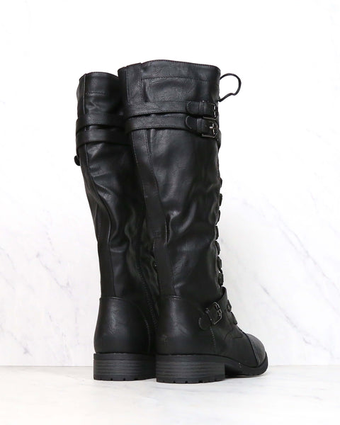 Tall Lace Up Combat Boot - Black