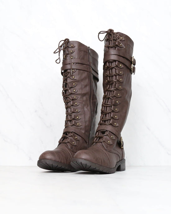 Tall Lace Up Combat Boots in Brown