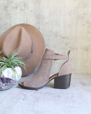 Final Sale - Peep Toe Ankle Booties in Taupe