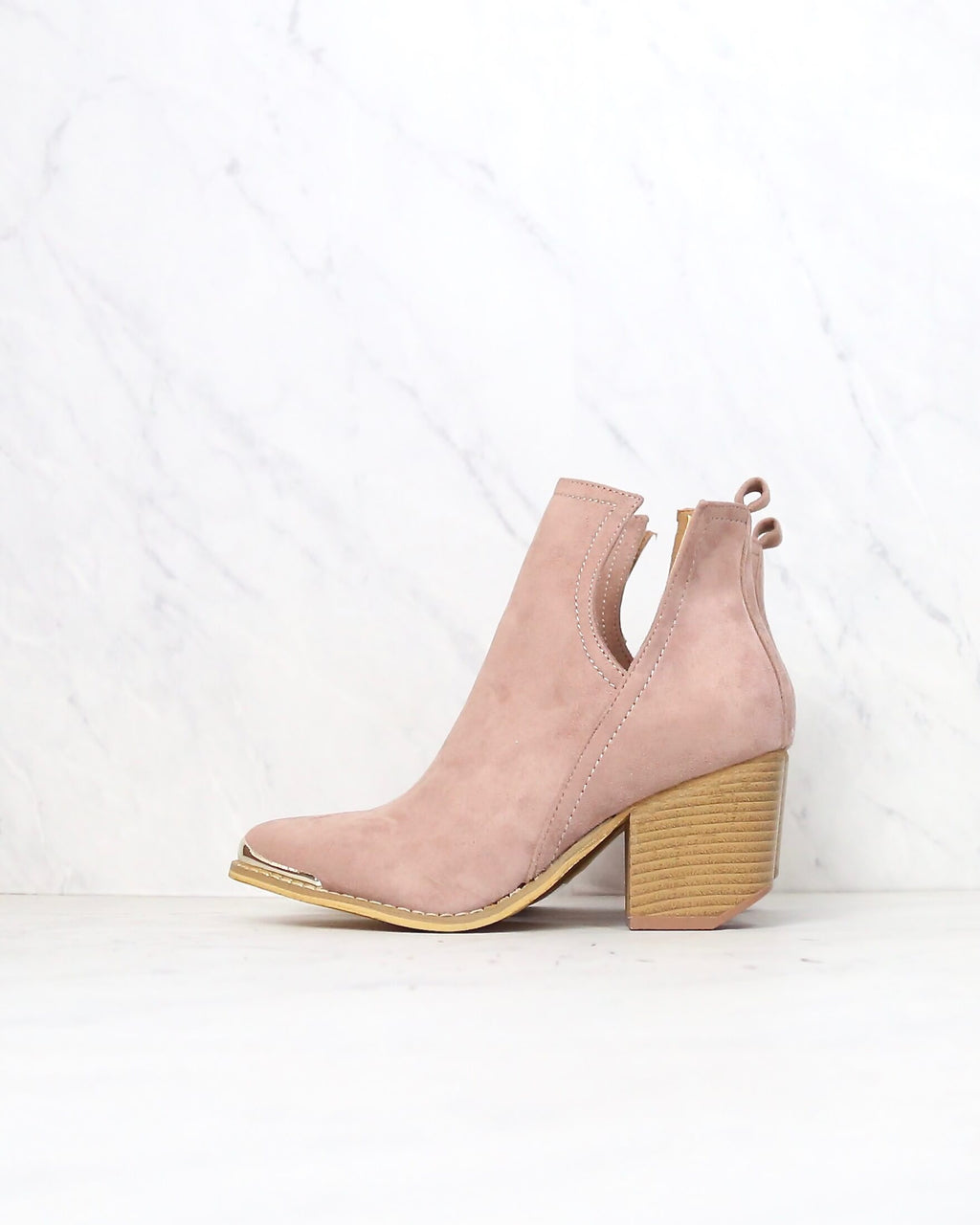 Final Sale - Vegan Suede Side Cut Out Booties with Metal Tip in Rose