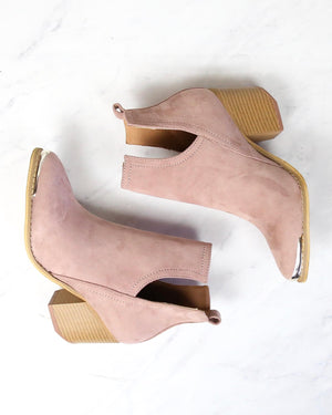 vegan suede side cut out bootie with metal tip - rose