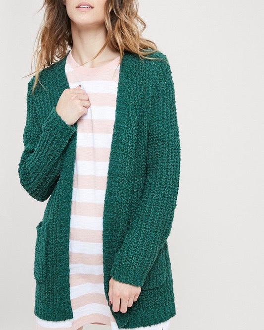 Textured Sweater Knit Long Sleeve Open Front Cardigan with Pocket in Green