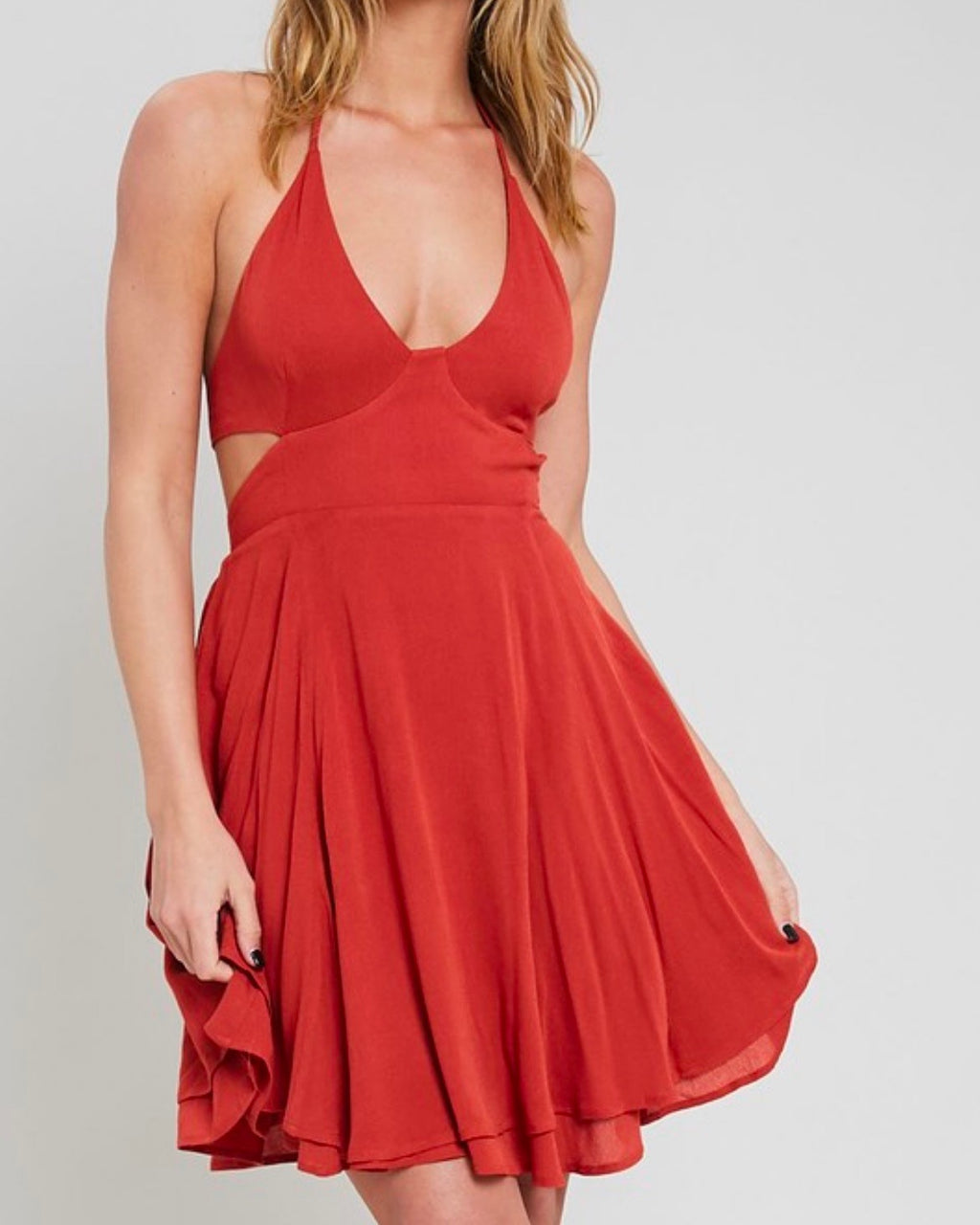 the one that I want open back halter neck flare dress with pockets in rust