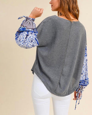 The Way You Move - Waffle Knit Top with Contrasting Sleeves - More Colors