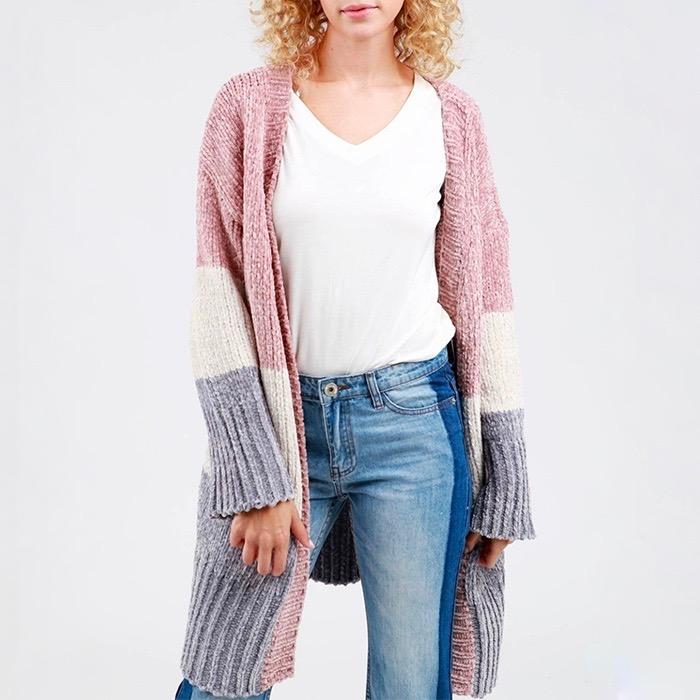 Darling Three-Tone Open Front Velvet Chenille Long Sleeve Sweater Cardigan in Canyon Rose