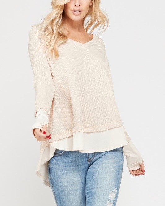 thumb hole long sleeve layered v neck waffle knit thermal sweater top - taupe
