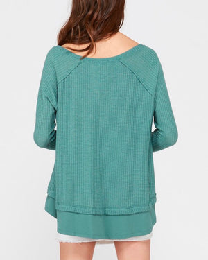 thumb hole long sleeve layered v neck waffle knit thermal sweater top in pistachio