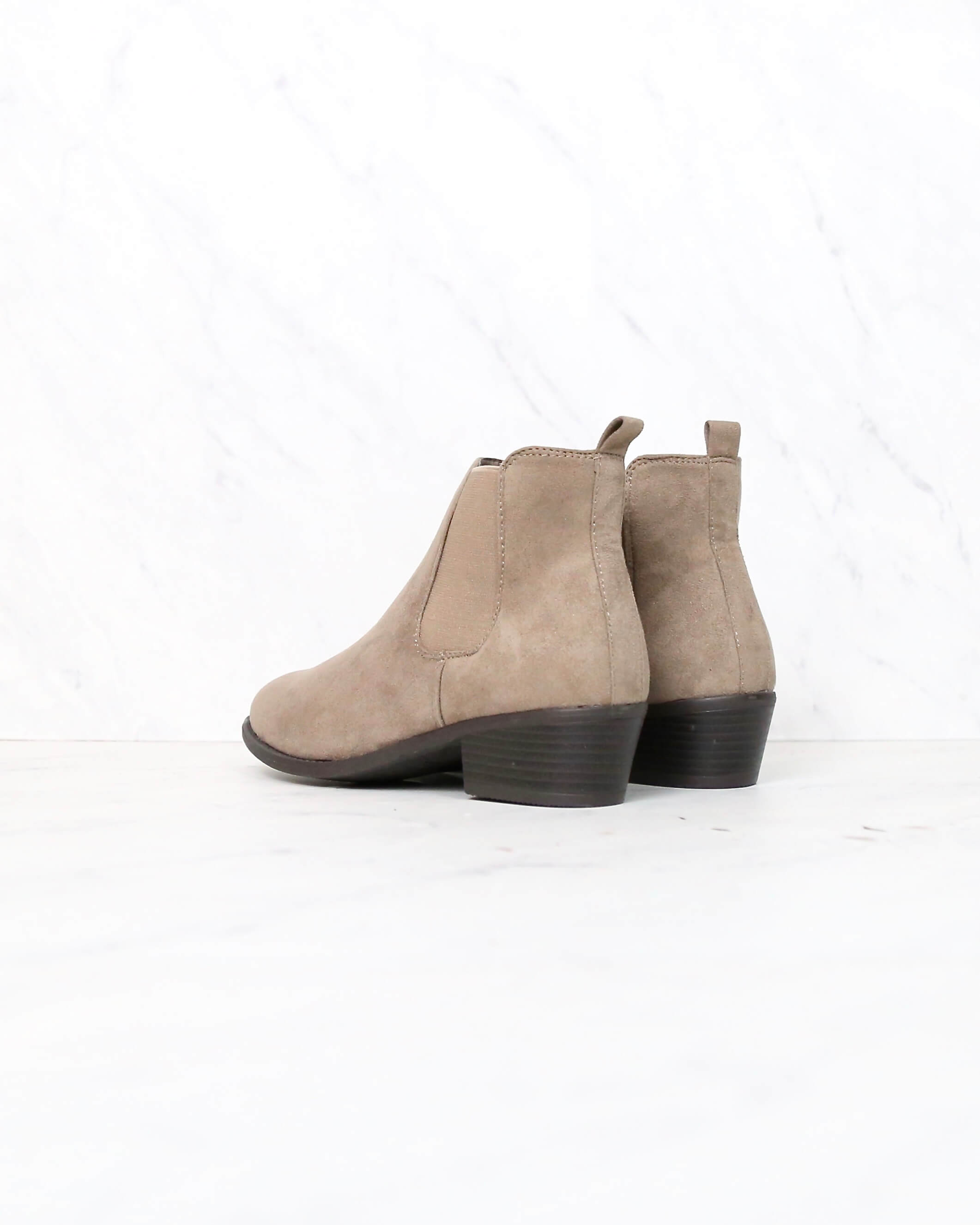 Low Heel Slip On Solid Faux Suede Ankle