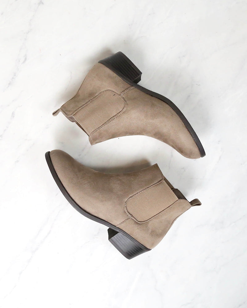 Low Heel Slip On Solid Faux Suede Ankle Booties - Taupe