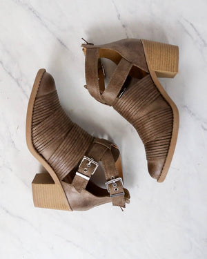 Final Sale - Lust Valley Strappy Cut Out Ankle Booties in Taupe