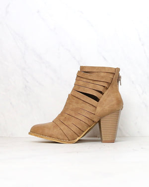 eve - strappy stacked chunky ankle bootie - more colors