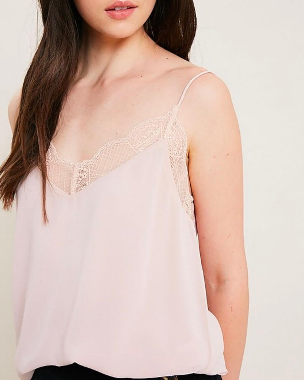 V-Neck Sleeveless Lace Trimmed Camisole Top in Blush