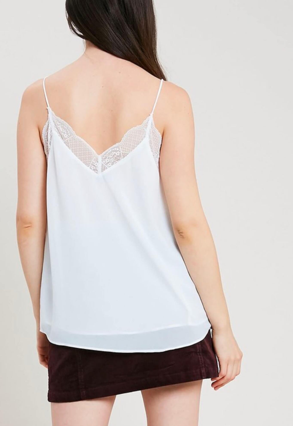 V-Neck Sleeveless Lace Trimmed Camisole Top in Ivory