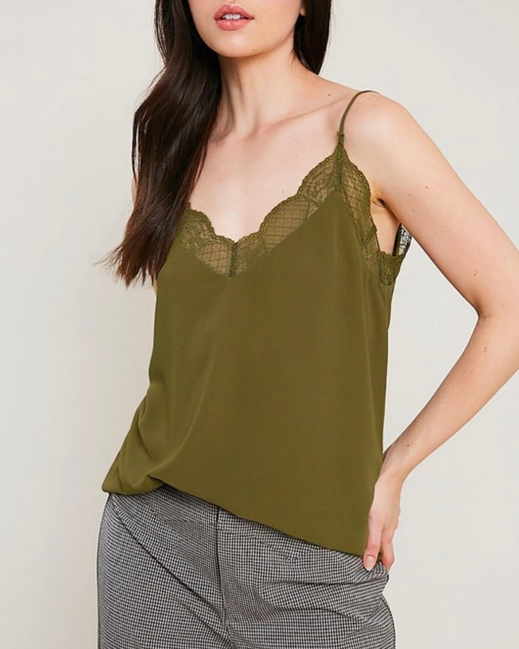 v-neck sleeveless lace trimmed camisole top - olive