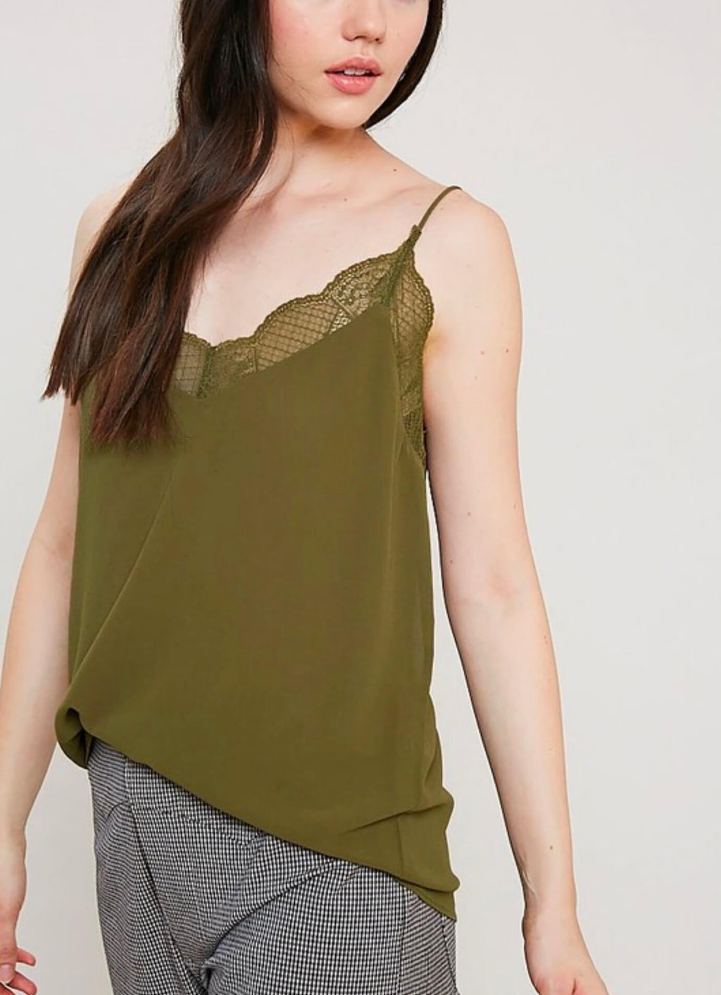 V-Neck Sleeveless Lace Trimmed Camisole Top in Olive