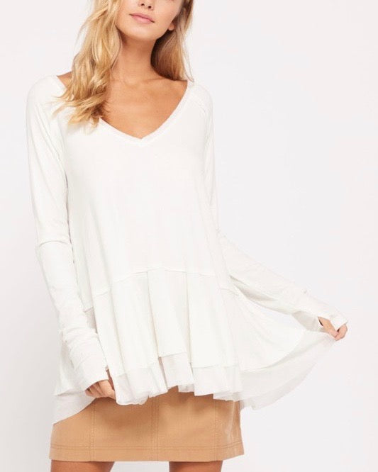 v-neck raglan linen ruffled double hem top with thumb-holes - ivory