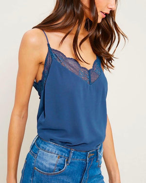 V-Neck Sleeveless Lace Trimmed Camisole Top in Teal Grey