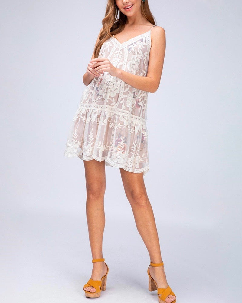 Care About You V-neck Lace and Floral Print Dress in Natural