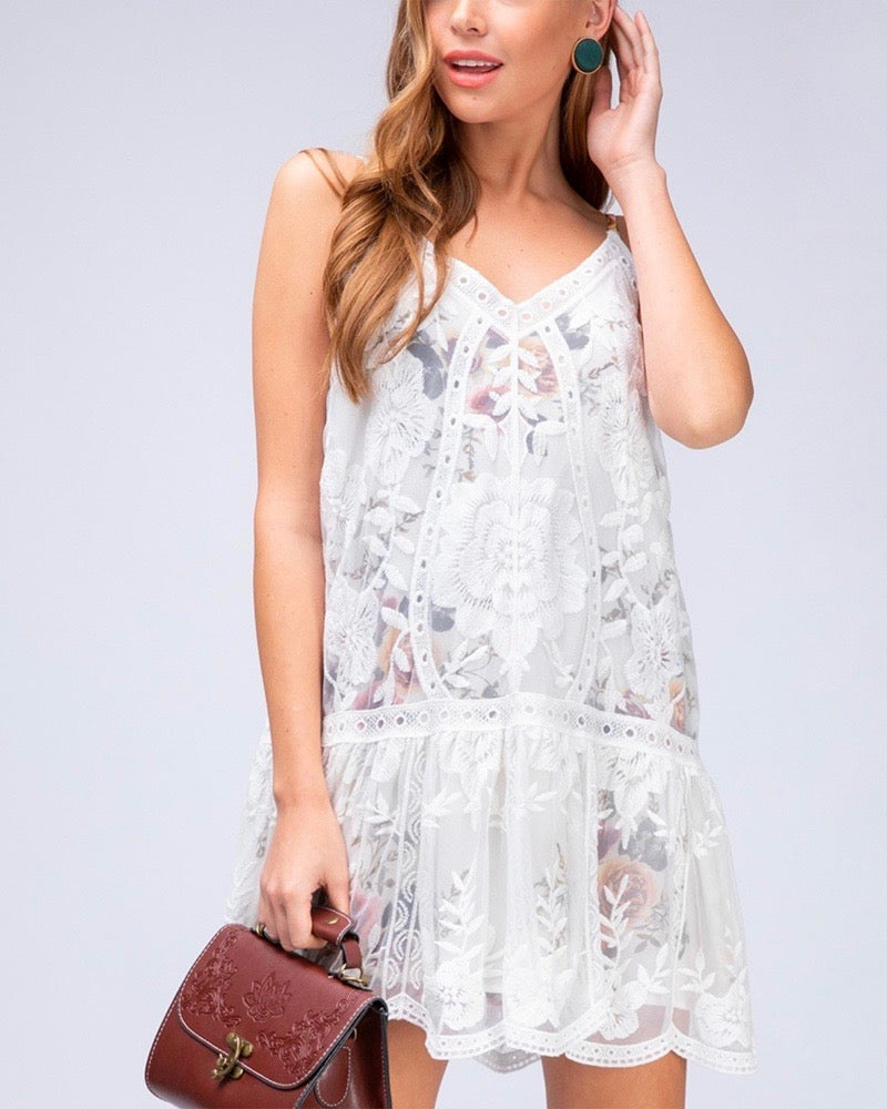 Care About You V-neck Lace and Floral Print Dress in Off White