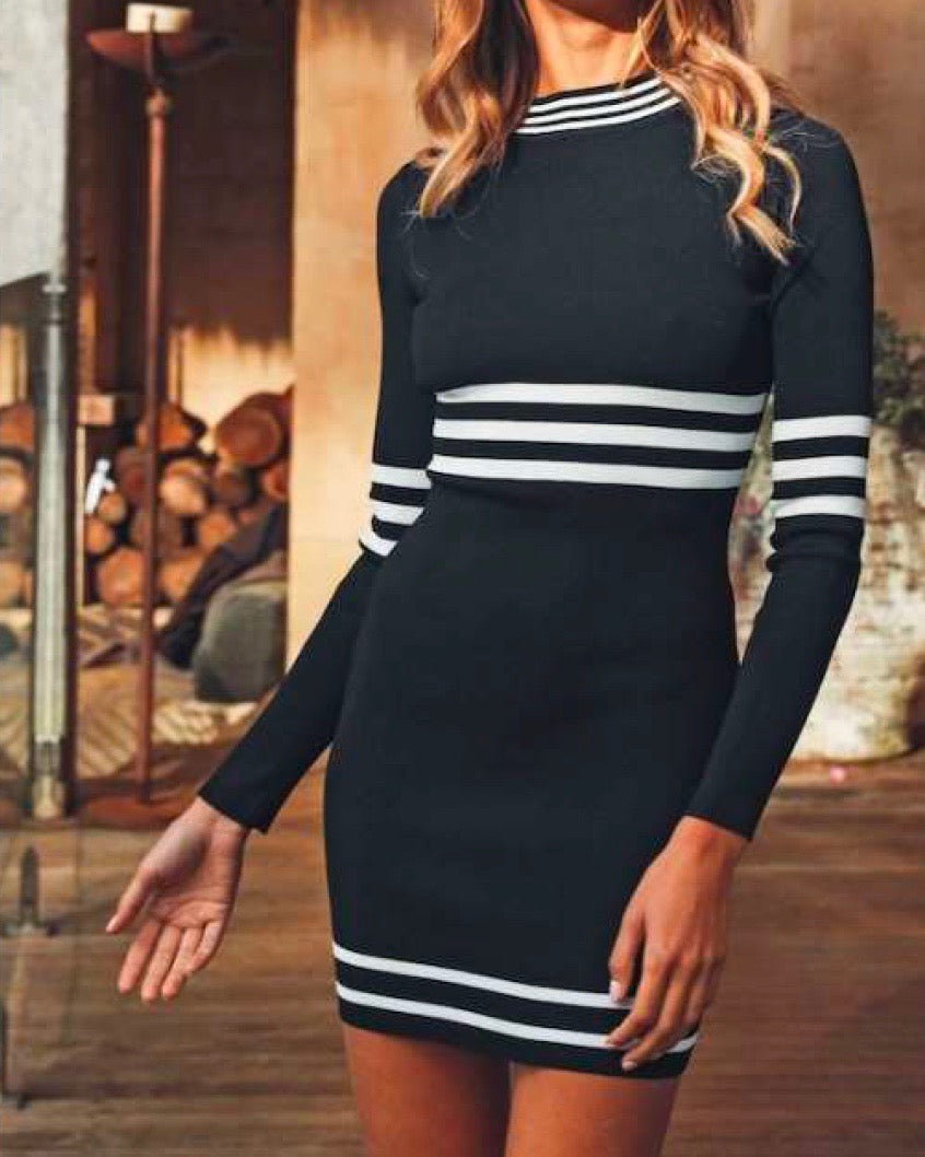 varsity ribbed long sleeve high neckline bodycon dress in black