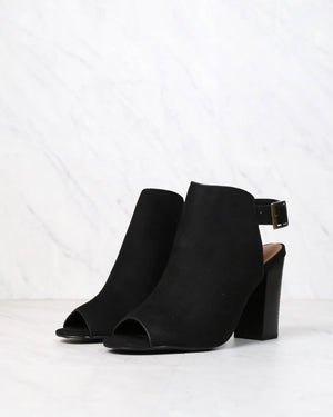 Vegan Suede Sling Back Chunky Peep Toe Heels in More Colors