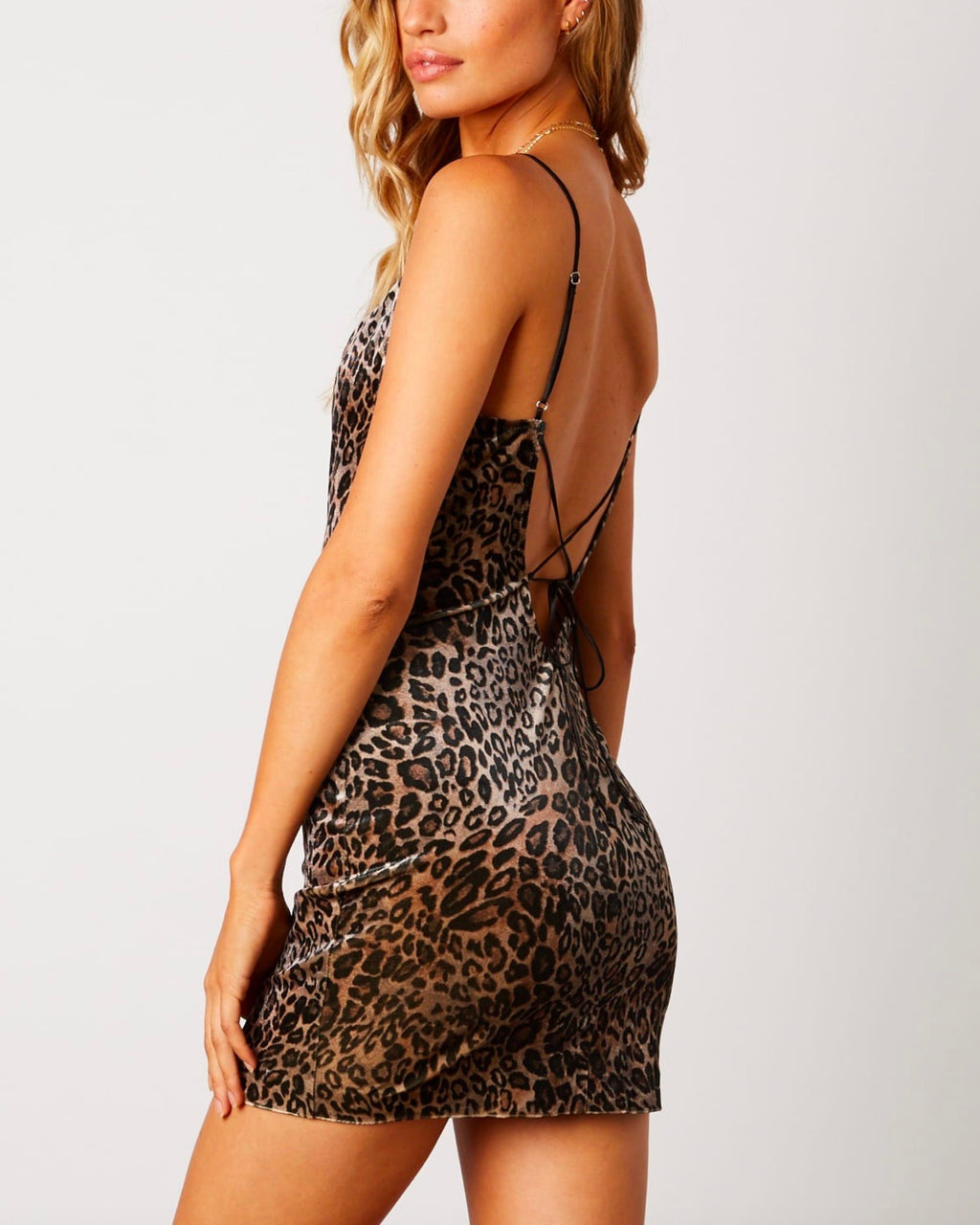 velvet mini leopard dress with strappy tie back and cowl neck - tan/leopard