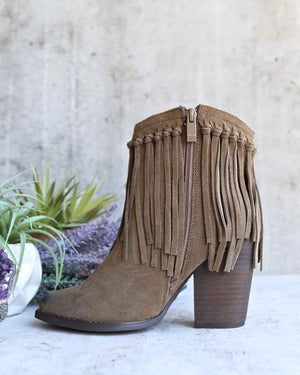 Very Volatile - Cupid Fringe Ankle Booties in Khaki