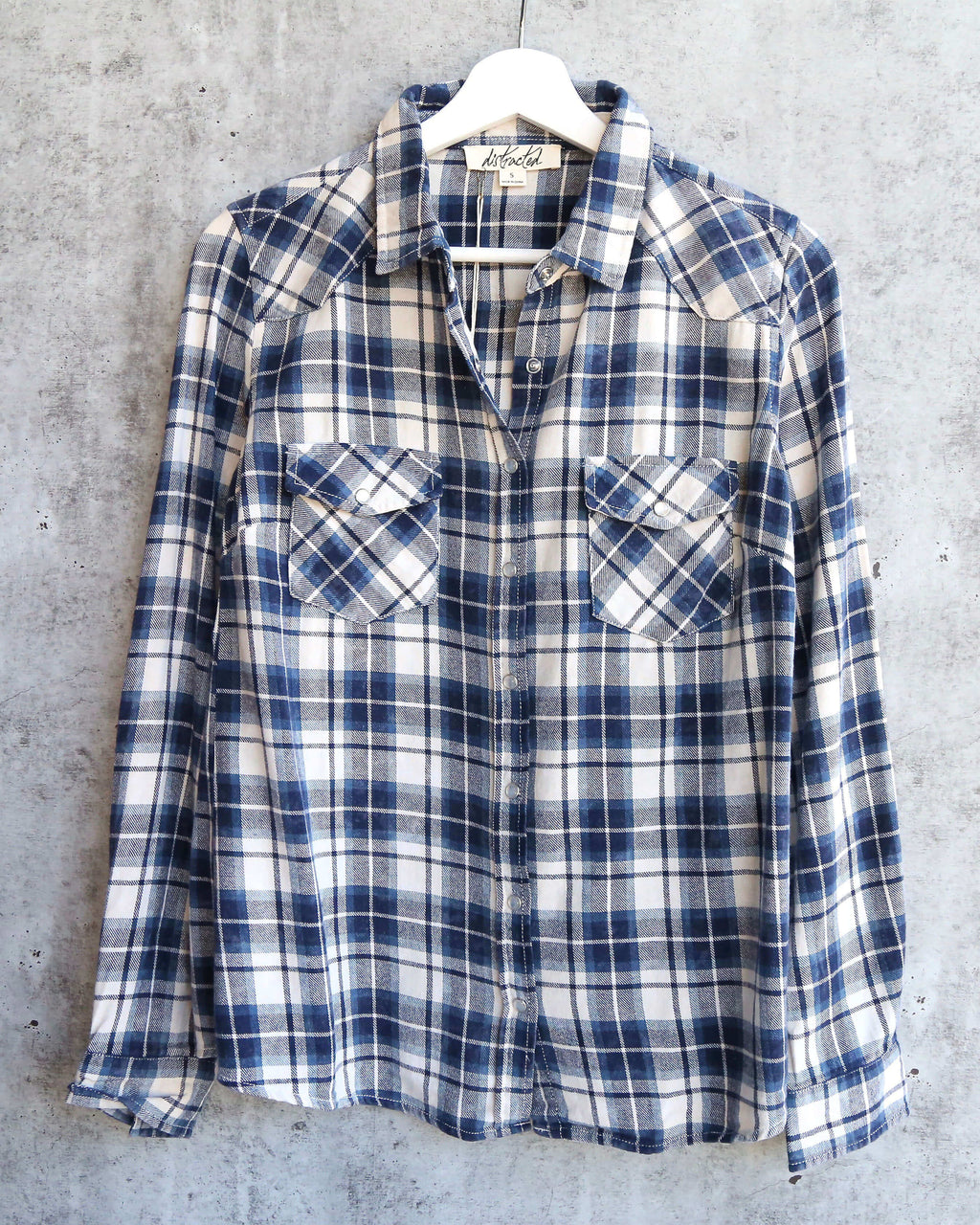 vintage affair soft button up womens plaid flannel long sleeve shirt - navy/blue