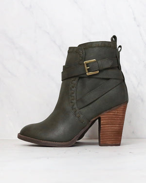 Not Rated - Violeta Strappy Ankle Bootie in Dark Green