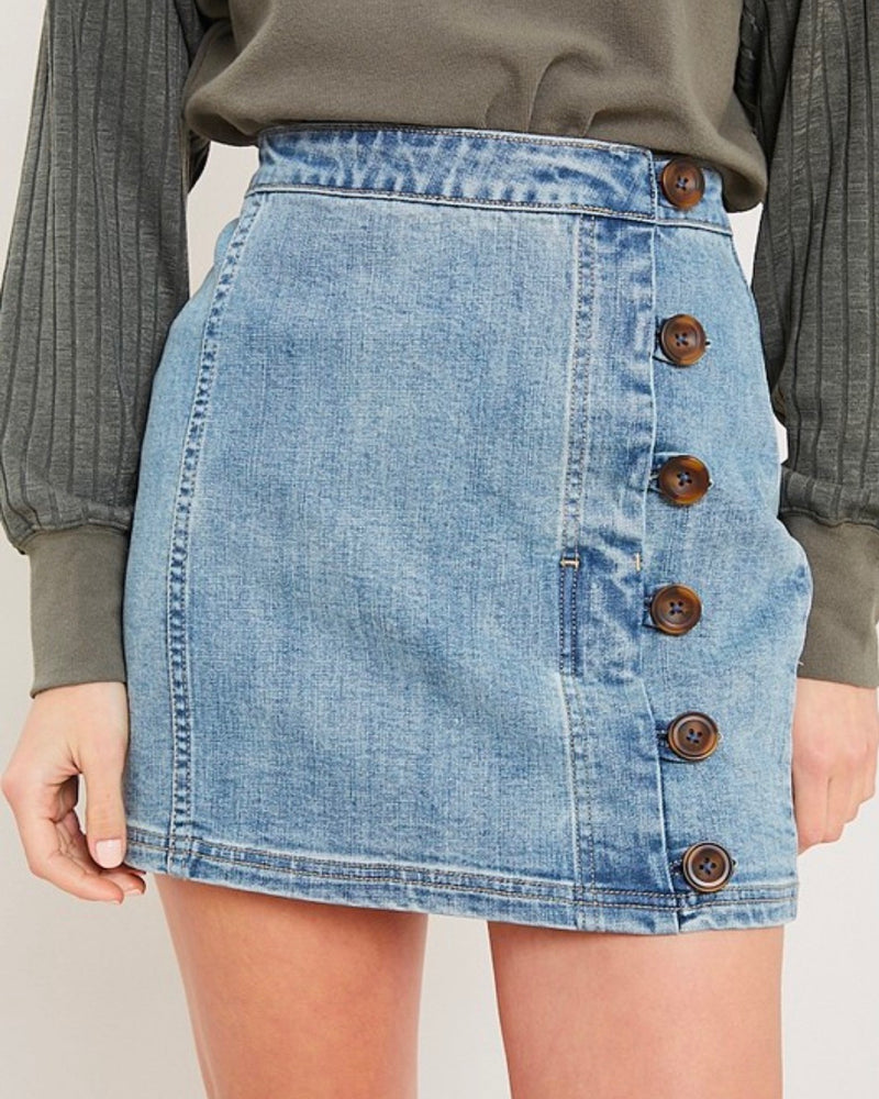 watch me fly button up denim mini skirt - denim medium wash