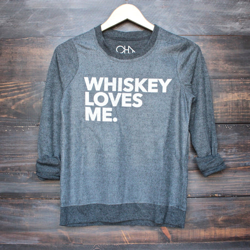 Chaser whiskey loves me sweatshirt in black - shophearts - 1