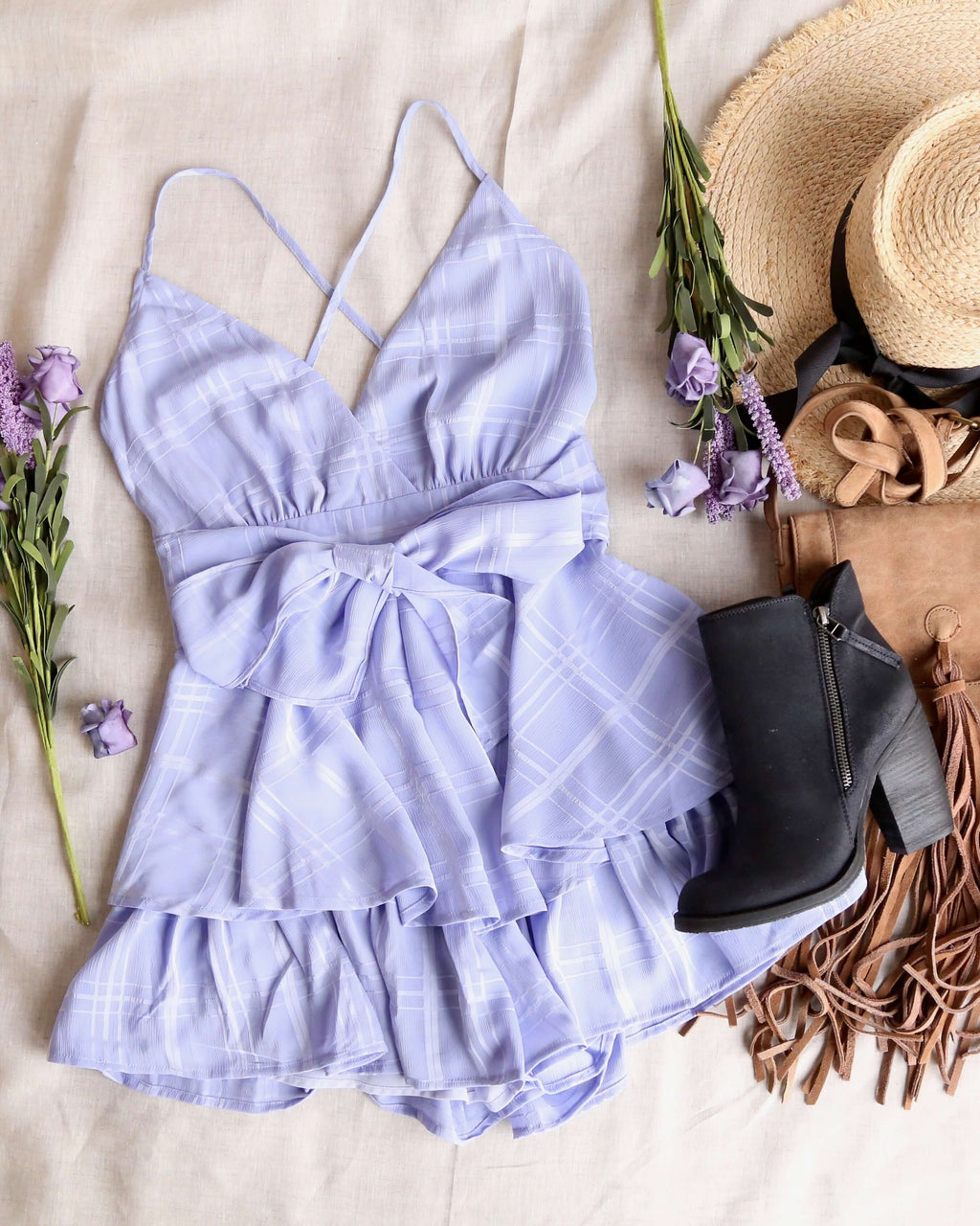 Keep it a Secret - Checkered Tiered Ruffle Romper - Lavender