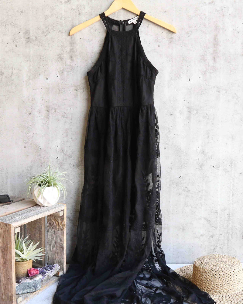 as you wish sleeveless halter maxi romper embroidered lace dress - black