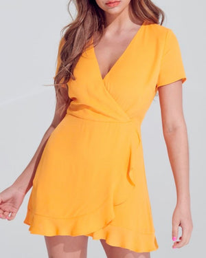 Wild Tangerines Faux Front Wrap Mini Dress with Ruffled Hem