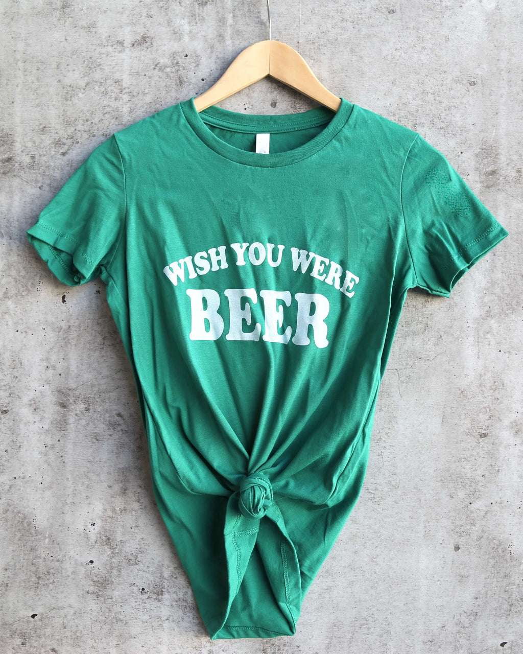 Distracted - Wish You Were Saint Patrick's Day Fitted Ringspun Cotton T-Shirt in Kelly Green/White