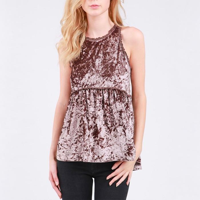Final Sale - Audrey - Crushed Velvet Babydoll Tank Top - More Colors