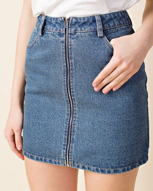 honey punch - run this town - denim zip skirt - medium denim wash