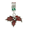 SilveRado Christmas Holly Red Crystal Bling Sterling Silver Charm, SS Charm, SilveRado