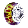 SilveRado Painted Orchid Murano Glass Bead, Murano Glass Bead, SilveRado