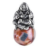 SilveRado Happy Buddha Sterling Silver Large Murano Glass Charm, SS Large Murano Glass Charm, SilveRado