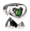 SilveRado 3 Hearts - Emeralds May Sterling Silver Birthstone Charm, SS Birthstone Charm, SilveRado
