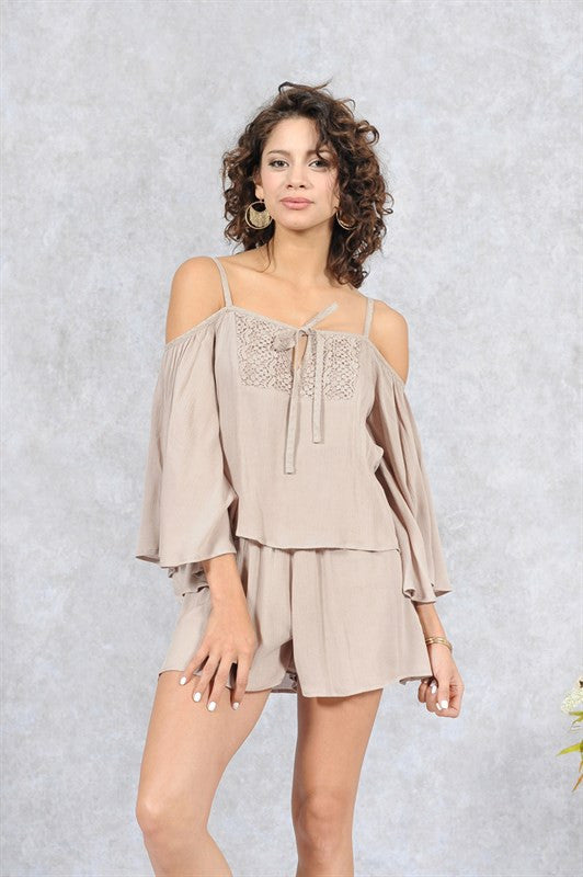 Cold Shoulder Romper with Criss Cross Back