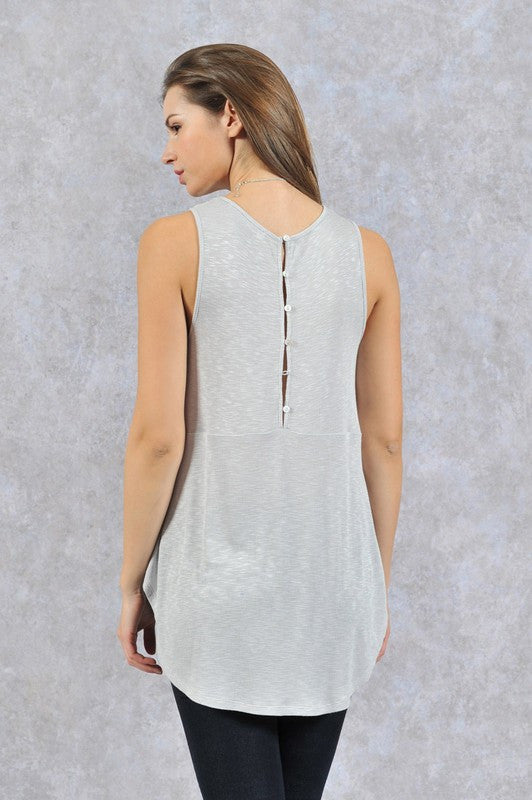 Burn Out High Low Tank With Button Back Detail