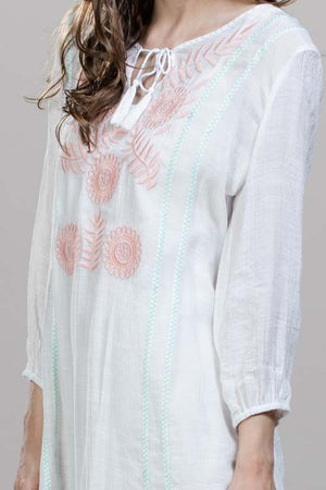 Embroidered Boho Flower Tunic Dress