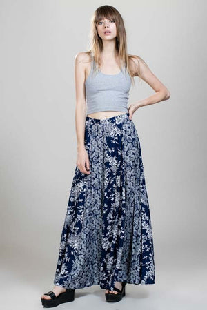 Foral Contrast Maxi Skirt
