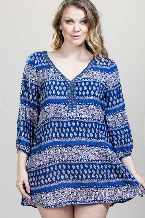 Cut-out Back Boho Print Dress - Plus Size