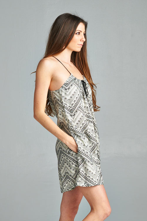 Aztec Print Tie Front Romper - Black and White or Multi Color