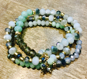 Teal Three Strand Bracelet