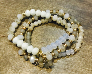 White Three Strand Bracelet